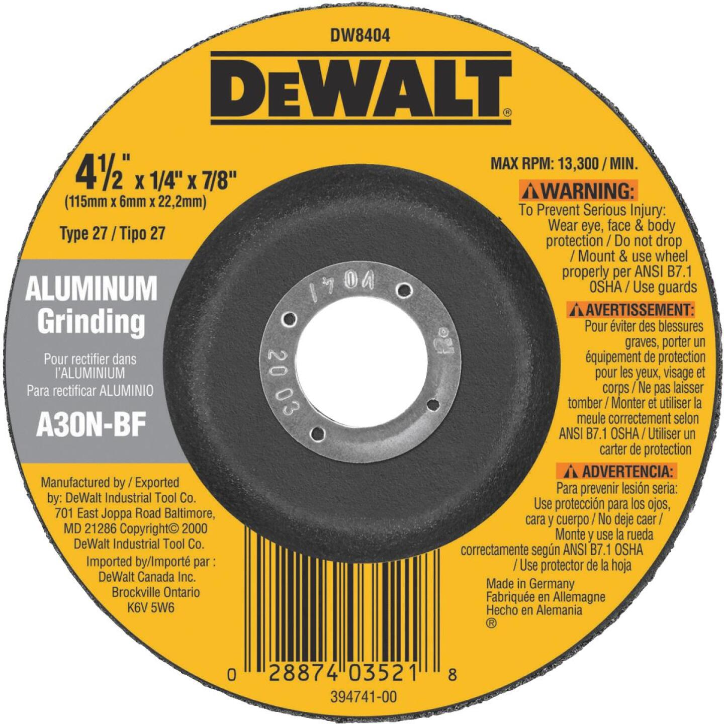 DeWalt HP Type 27, 4-1/2 In. Cut-Off Wheel Image 2