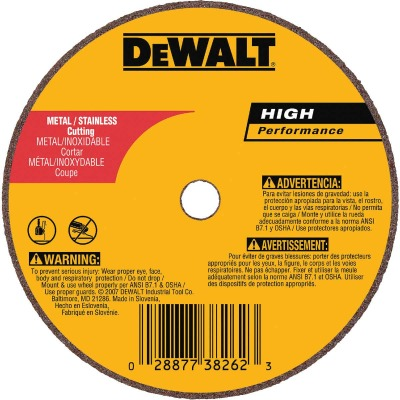 DeWalt HP Type 1 3 In. x 1/16 In. x 1/4 In. Metal/Stainless Cut-Off Wheel