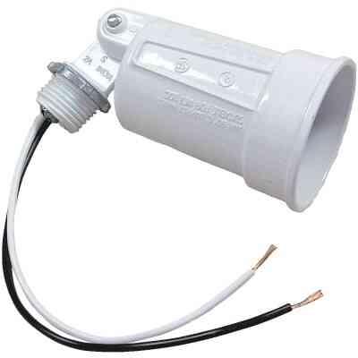 Bell 150W PAR38 White Single Bulb Weatherproof Outdoor Lampholder, Shrink Wrapped