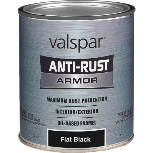 Valspar Anti-Rust Oil-Based Flat Armor Rust Control Enamel, Black, 1 Qt.