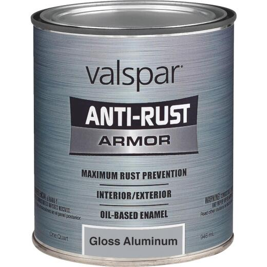 Valspar Anti-Rust Oil-Based Gloss Armor Rust Control Enamel, Aluminum, 1 Qt.
