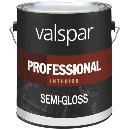 Valspar Professional Latex Semi-Gloss Interior Wall Paint, High Hide White, 1 Gal.