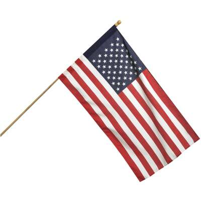Valley Forge 2.5 Ft. x 4 Ft. Polycotton American Flag & 5 Ft. Pole Kit